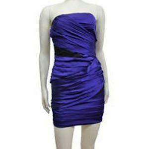 Express Satin Purple Cocktail Dress w/ Lace